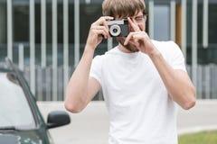 Man taking photo Stock Photo