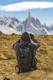 Man Taking Photos of Andes Mountains. Patagonia - Argentina Royalty Free Stock Image