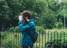 Man Taking Picture Stock Photo