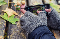 Man taking picture of autumn on his smartphone. Man shooting autumn on his phone camera Stock Photo