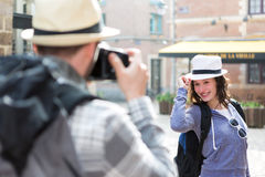 Man taking picture of his girlfriend on hoildays Royalty Free Stock Photo