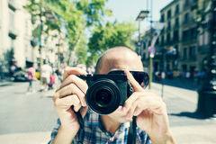 Man taking a picture of the observer at La Rambla in Barcelona, Stock Image