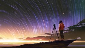 Man taking picture of sunrise sky. Young photographer taking picture of sunrise sky with star trails, digital art style, illustration painting stock illustration
