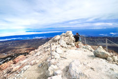 Man taking picture at top volcano Teide at Spring Stock Image