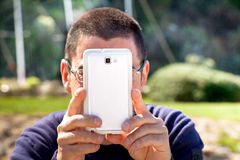 Man Taking Pictures With Smartphone Royalty Free Stock Photos