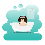 Man taking a relaxing bubble bath in the bathroom. Shower. Picture on personal hygiene. Royalty Free Stock Photos