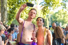 Madrid, Spain - 07 July 2019 - Gay Pride, Orgullo Gay - Couple Selfie stock photo