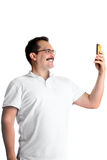 Man taking  selfie with a mobile phone Stock Photos