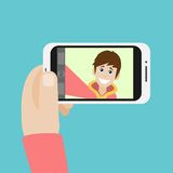 Man taking selfie photo on smart phone vector Royalty Free Stock Photography
