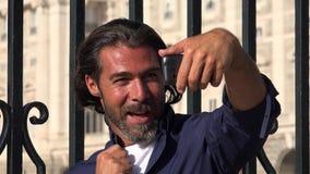 Man taking selfie using phone stock video footage