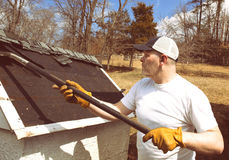 Man taking shingles off a shed roof Royalty Free Stock Photos