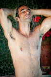 Man Taking Shower Stock Photography