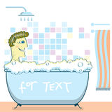 Man taking a shower in a bathroom.Vector illustrat Royalty Free Stock Photos