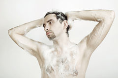 Man taking shower Royalty Free Stock Photography