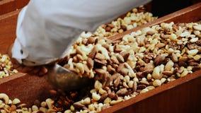 Man taking various nuts in bulk. A man takes various nuts in bulk for his customers in the market of Torvehallerne, in Copenhagen, Denmark royalty free stock photo