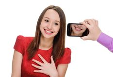Man Taking woman Portrait with Phone Camera Royalty Free Stock Photos