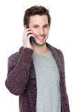 Man talk to cellphone Stock Images