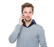 Man talk to mobile phone Royalty Free Stock Photos