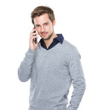 Man talk to mobile phone Stock Images