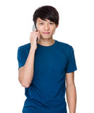 Man talk to mobile phone Royalty Free Stock Image