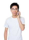 Man talk to mobile phone Royalty Free Stock Images