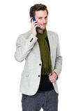 Man talk to mobile phone Stock Photo