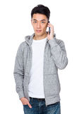 Man talk to mobile phone Stock Photos
