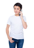 Man talk to phone Stock Images