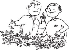 Man talking. Hand drawn image of 2 man talking about waste issue royalty free illustration