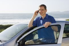 Man talking on cell phone Stock Photography