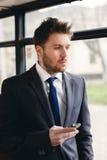 Man Talking on Cell Phone, public transportation Royalty Free Stock Photo
