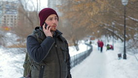 Man talking on cellphone in the park at winter time stock video