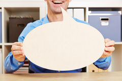 Man talking with empty speech bubble Royalty Free Stock Images