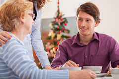 Man talking with his grandmother Royalty Free Stock Photo