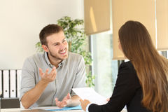 Man talking in a job interview Royalty Free Stock Photo
