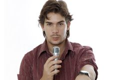 Man talking by microphone Royalty Free Stock Photos
