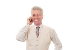 Man talking on mobile. Portrait of mature  man talking on mobile phone Royalty Free Stock Image