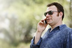 Man talking on mobile phone Royalty Free Stock Image