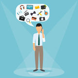 Man talking on mobile phone. Speech Bubbles with icons technology Royalty Free Stock Photos