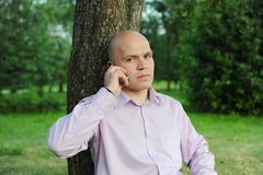 Man talking on the phone. Man in a green park talking on the phone Stock Images