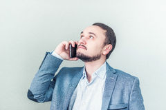 Man talking on the phone. Businessman talks stock photography