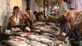 Man talking on the phone at the fish stand of Mumbai street market. stock footage