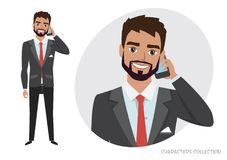 A man is talking on the phone vector illustration