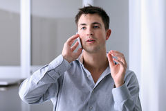 Man talking on phone stock photo