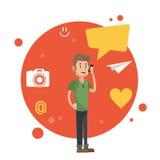 Man talking smartphone social media orange circle background Stock Image