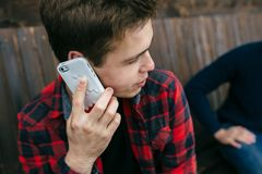 Man talking on smartphone Stock Images