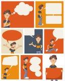 Man talking by speech balloons Stock Image