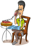 Man talking on the telephone. Illustration of a businessman chatting and talking on the telephone Royalty Free Stock Photography