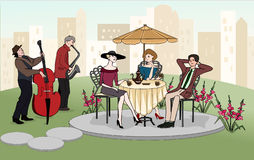 Man talking to elegant women outdoors. Summer cafe. Street musicians. Valentine's Day. Vector Stock Photography