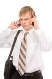 Man talking on two mobile phone Stock Photo